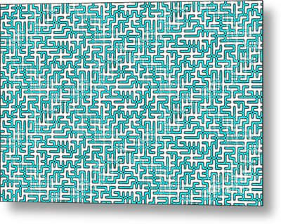 Complex Maze In Green And White Colors Metal Print by Yali Shi