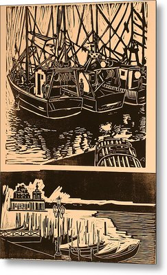 Composite Of Two Woodcuts Metal Print by Biagio Civale