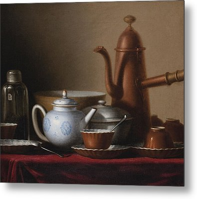 Composition With A Copper Pitcher And A Tea Set Metal Print by Celestial Images