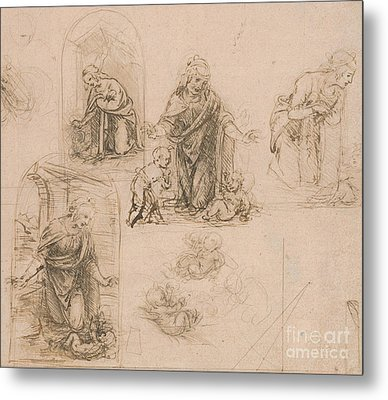 Compositional Sketches For The Virgin Adoring The Christ Child Metal Print by Leonardo Da Vinci