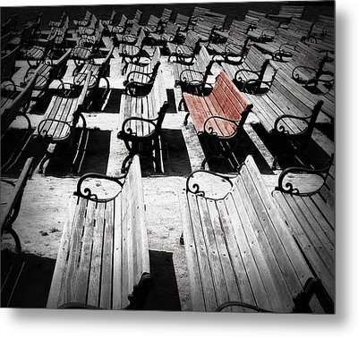 Concert Benches Metal Print by Perry Webster