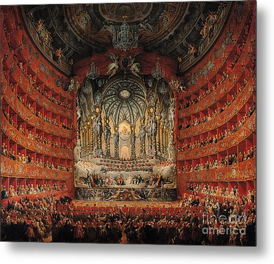 Concert Given By Cardinal De La Rochefoucauld At The Argentina Theatre In Rome Metal Print by Giovanni Paolo Pannini or Panini