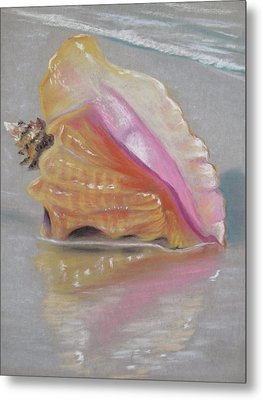 Conch On Beach Metal Print by Joan Swanson
