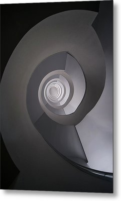 Metal Print featuring the photograph Concrete Abstract Spiral Staircase by Jaroslaw Blaminsky