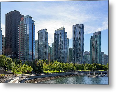 Condominium Waterfront Living In Vancouver Bc Metal Print by David Gn