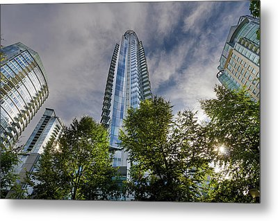 Condominiums Along Waterfront In Vancouver Bc Metal Print by David Gn