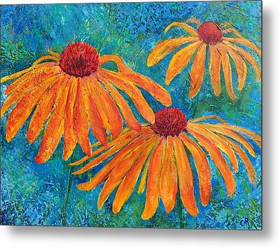Metal Print featuring the painting Coneflower Trio by Chris Rice