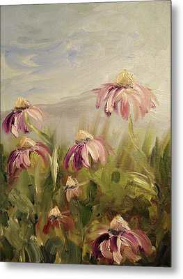 Metal Print featuring the painting Coneflowers by Donna Tuten
