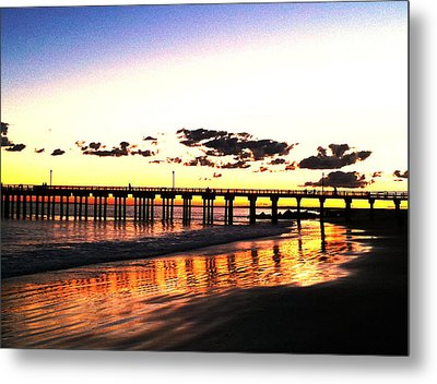 Coney Island Pier Sunset Metal Print