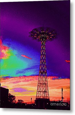 Coney Islands Parachute Jump Metal Print