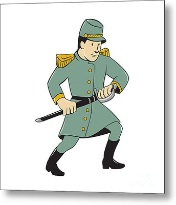 Confederate Army Soldier Drawing Sword Cartoon Metal Print by Aloysius Patrimonio