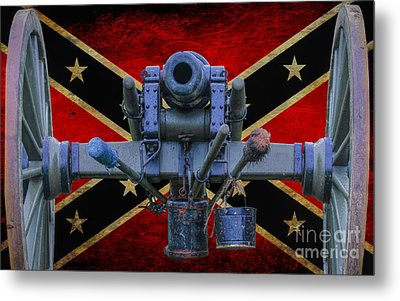 Confederate Flag And Cannon Metal Print