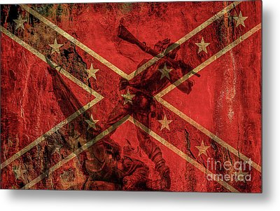 Confederate Flag And Mississippi Monument Metal Print by Randy Steele