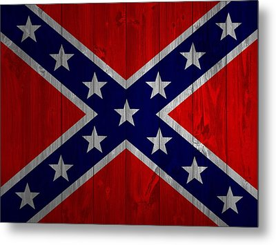 Confederate Flag Barn Door Metal Print