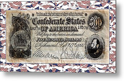 Confederate Money Metal Print by Susan Leggett