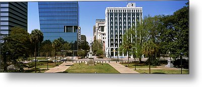 Confederate Monument With Buildings Metal Print by Panoramic Images
