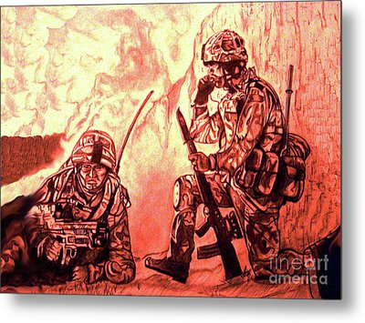 Confrontation Metal Print by Johnee Fullerton