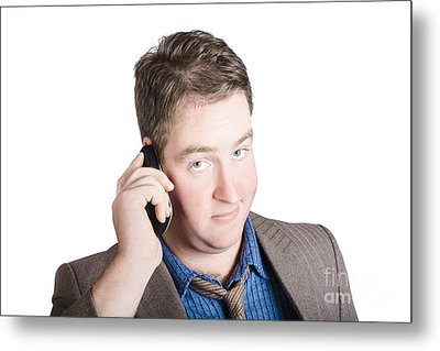 Confused Business Person On Cell Phone. Close Call Metal Print