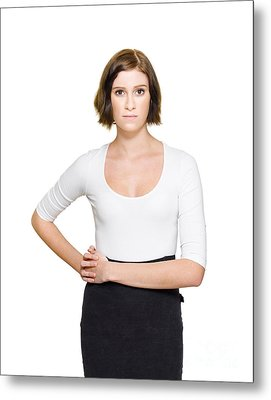 Confused Unsure And Hesitant Business Woman Metal Print