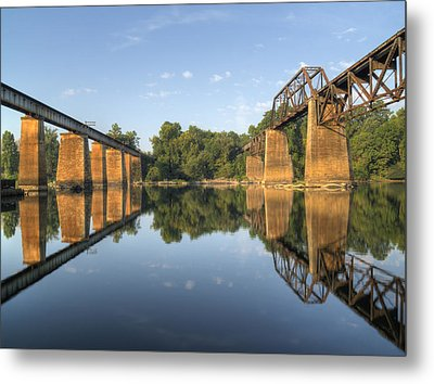 Congaree River Rr Trestles - 1 Metal Print by Charles Hite