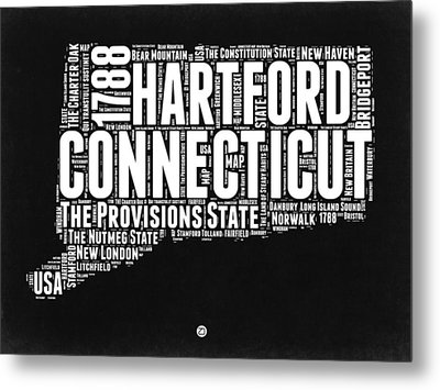 Connecticut Black And White Word Cloud Map Metal Print by Naxart Studio