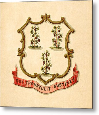 Connecticut Historical Coat Of Arms Circa 1876 Metal Print