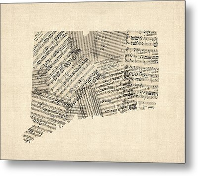 Connecticut Sheet Music Map Metal Print by Michael Tompsett