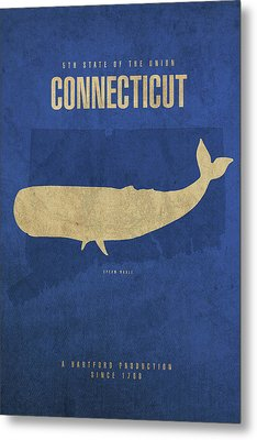 Connecticut State Facts Minimalist Movie Poster Art Metal Print by Design Turnpike