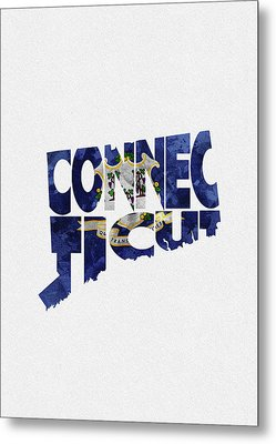 Connecticut Typographic Map Flag Metal Print