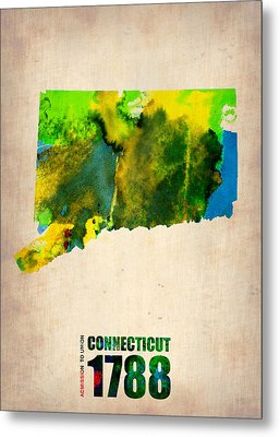 Connecticut Watercolor Map Metal Print by Naxart Studio