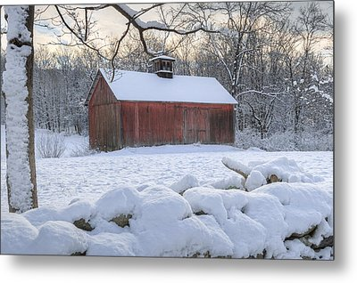 Connecticut Winter Barns Metal Print