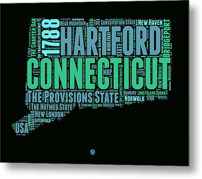 Connecticut Word Cloud Map 1 Metal Print by Naxart Studio