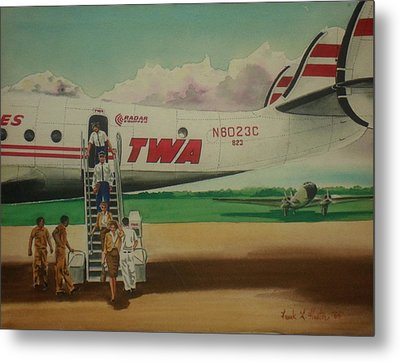 Connie Crew Deplaning At Columbus Metal Print by Frank Hunter