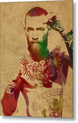 Conor Mcgregor Ufc Fighter Mma Watercolor Portrait On Old Canvas Metal Print by Design Turnpike