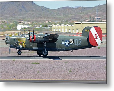 Metal Print featuring the photograph Consolidated B-24j Liberator N224j Witchcraft Deer Valley Arizona April 13 2016 by Brian Lockett