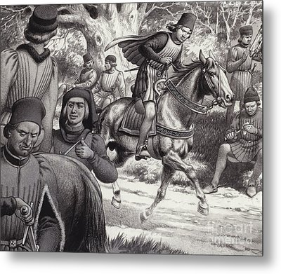 Conspirators Look On As Lorenzo De Medici Rides By  Metal Print by Pat Nicolle