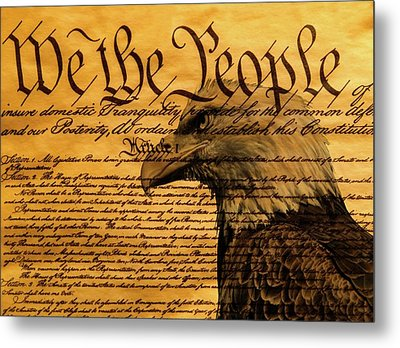 Constitution And Bald Eagle Metal Print by Dan Sproul