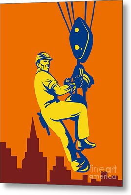 Construction Worker Metal Print by Aloysius Patrimonio