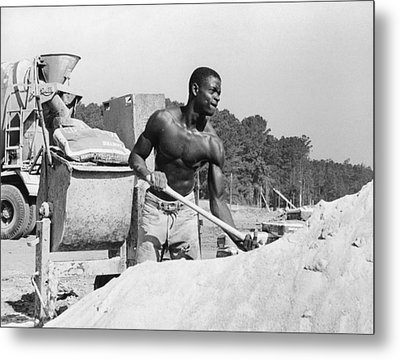 Construction Worker And Cement Truck Metal Print