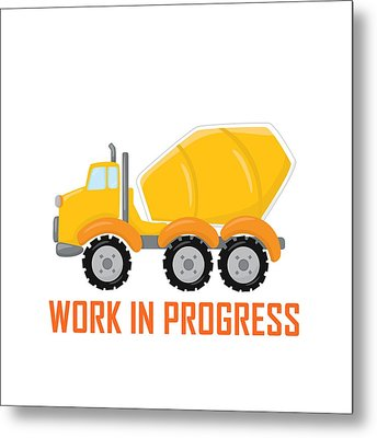 Construction Zone - Concrete Truck Work In Progress Gifts - White Background Metal Print