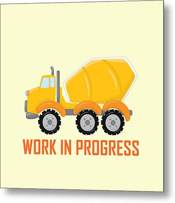 Construction Zone - Concrete Truck Work In Progress Gifts - Yellow Background Metal Print