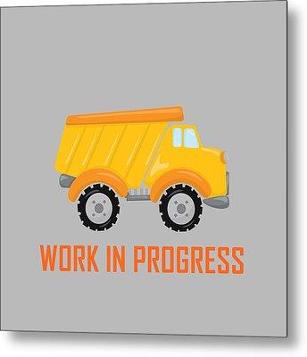 Construction Zone - Dump Truck Work In Progress Gifts - Grey Background Metal Print