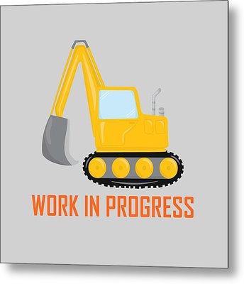 Construction Zone - Excavator Work In Progress Gifts - Grey Background Metal Print