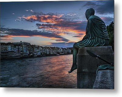 Contemplating Life In Basel Metal Print by Carol Japp