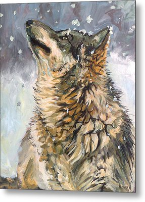 Metal Print featuring the painting Contemplating The Snow by Koro Arandia