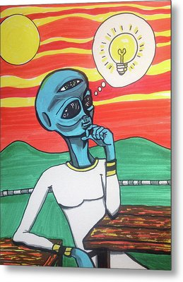 Contemplative Alien Metal Print by Similar Alien