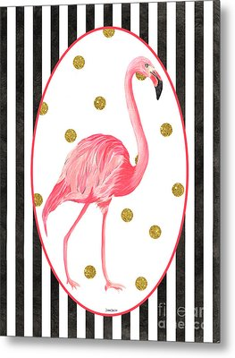 Contemporary Flamingos 2 Metal Print by Debbie DeWitt