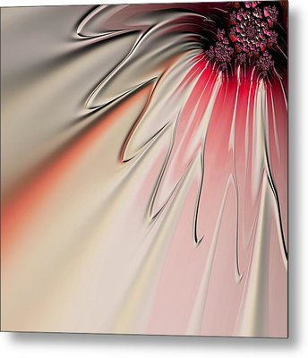 Metal Print featuring the digital art Contemporary Flower by Bonnie Bruno