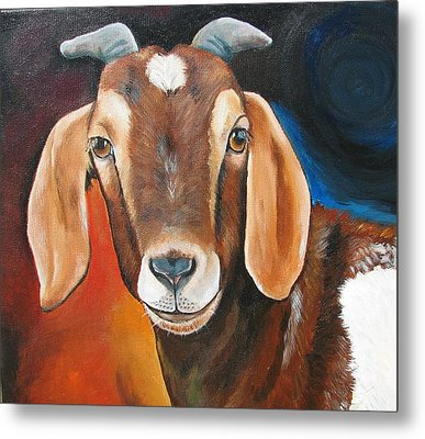 Contemporary Goat Metal Print by Laura Carey