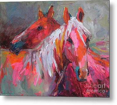 Contemporary Horses Painting Metal Print by Svetlana Novikova